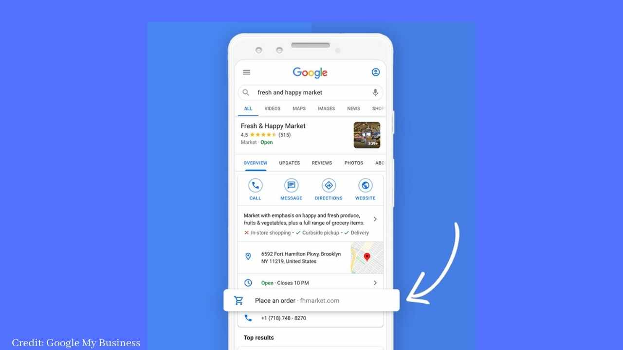 """Google Business added new """"Place an Order"""" Button for US retailers."""