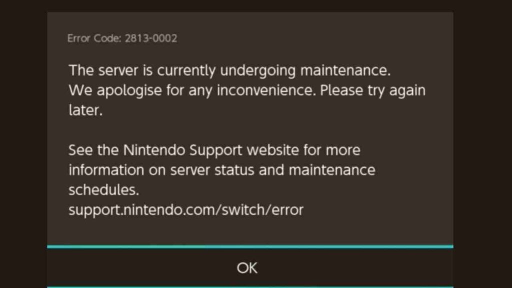Nintendo Switch Error Code 2813-0002 eshop down