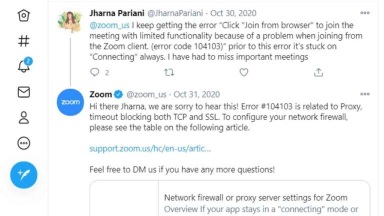 Zoom Error Code 104103 fix